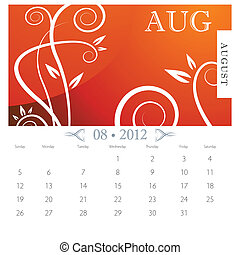 August Victorian Calendar Page - An image of August month...