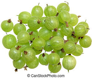 Gooseberry - Group of fresh gooseberry isolated on white...