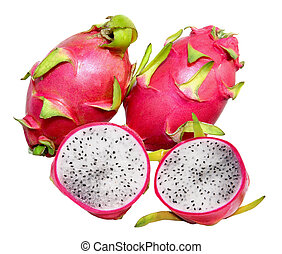 Three dragonfruits - Three dragon fruits isolated on white...