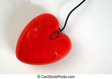 heart shape COMPUTER MOUSE - red heart shape Computer mouse...