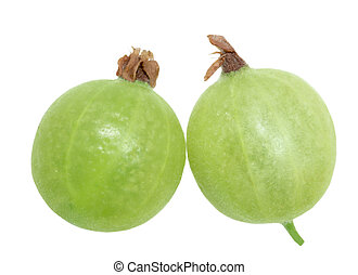 Two Gooseberry - Two fresh gooseberry fruits isolated on...