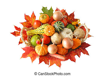 Autumn Vegetables - Basket of colorful vegetables in the...