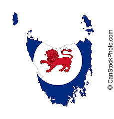 Tasmania flag and map - State flag of Tasmania on map;...
