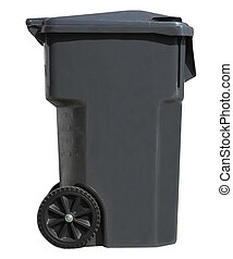 Trash Container - Black garbage can isolated on white...