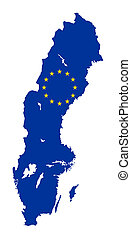 Sweden EU flag Map - European flag on mag of Sweden;...