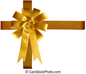 Golden Ribbon and Bow - Golden satin ribbon and bow isolated...