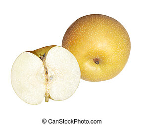 Asian Pear - One and a half asian pears isolated on white