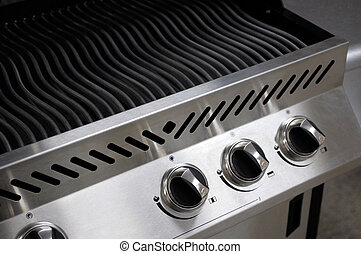 Stainless Steel Barbecue - Stainless steel barbecue closeup