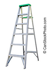 Step Ladder - Aluminum step ladder isolated on white...