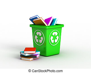 Books in recycle bin - Disposal container with books. Image...