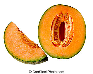 Cantaloupe - Fresh cantaloupe fruit isolated on white...