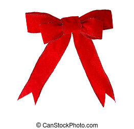 Red Velvet bow - Red velvet bow and ribbon isolated on white