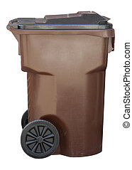 Trash can - Brown trash container with black lid isolated on...