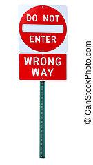 Wrong way sign - Wrong way do-not-enter traffic sign...