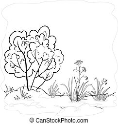 Garden with a bush, contours - Vector landscape, garden with...