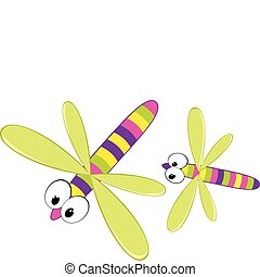 Cartoon dragonfly - Two cartoon dragonfly Vector...