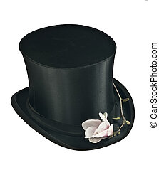 Black top hat and pink magnolia flower isolated