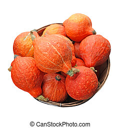 Gourds - fresh orange pumpkin gourds isolated on white
