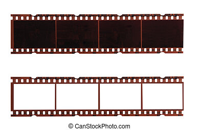 Film strips - two trips of negative films isolated on white...