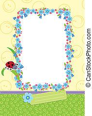 Floral child frame. Vector illustration