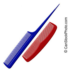 Combs - Two hair combs isolated on white background