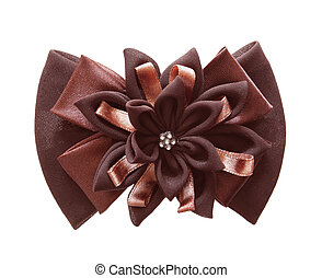 Brown bows - brown bow and ribbon isolated on white...