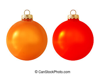 Christmas ball - Two christmas balsl isolated on white...