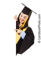 Female Graduate with copy space - Stock image of happy...