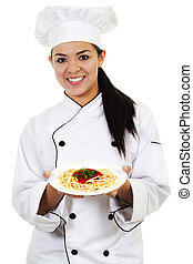 Female Chef - Stock image of female chef, isolated on white...