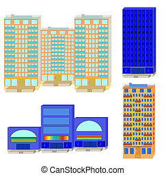 Set from apartment houses and shopping center on a white background