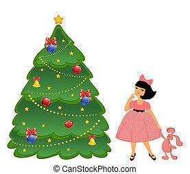 cartoon little girl with a fir-tree