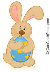 Easter Bunny with colored egg. Easter card