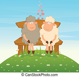 Cartoon funny sheep sits on a bench.