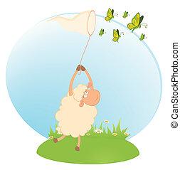 sheep with beautiful butterflies - cartoon funny sheep...