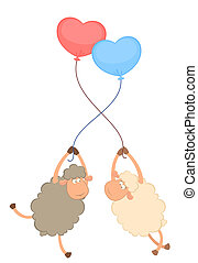 cartoon sheep flies on a balloons