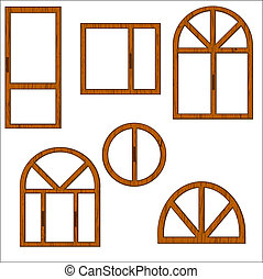 Set of wooden windows of the different form on a white...
