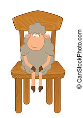 sheep sits on a chair.