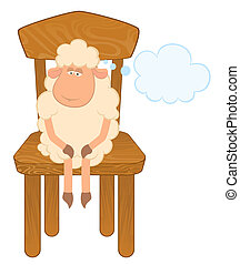 sheep sits on a chair. - Cartoon funny sad sheep sits on a...