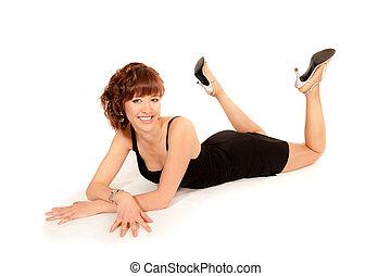 Portrait of a beautiful woman in black dress