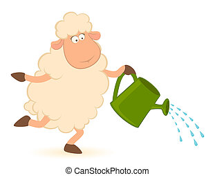 sheep pours from a watering-can