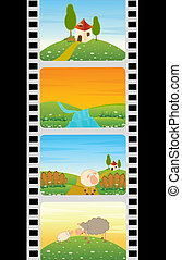 colorful strip with Landscape