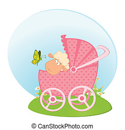 sheep with scribble baby carriage - Vector Cartoon smiling...