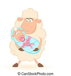 sheep mother with infant baby - Vector Cartoon smiling sheep...