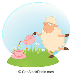 sheep pours flowers