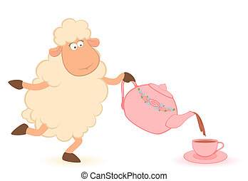 sheep pours tea from a tea-pot
