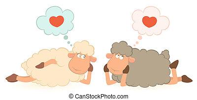 mouton, sur, Amour, rêves