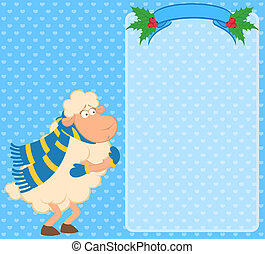 Cartoon funny sheep freezes in a scarf.