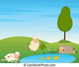 Cartoon funny sheep on country landscape with tree and lake.