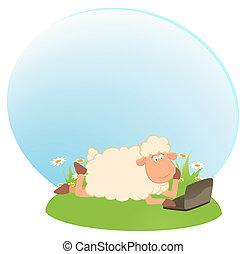 cartoon sheep and laptop