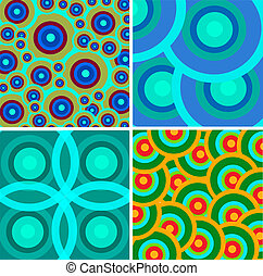 Print - Set from abstract retro ornaments in different color...